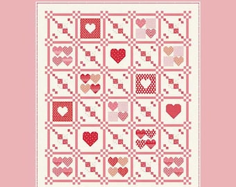 """Quilt Pattern - TOGETHER - Quilting Life Designs - Quilt Pattern 64 1/2"""" by 75 1/2"""" - 2021 Moda Stitch Pink"""