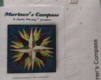 """Paper Piece Foundations - Stable Piecing - Mariner's Compass 36"""" Square - Package of Foundations and Pattern"""