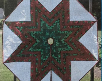 """Paper Piece Foundations - Stable Piecing - Ribbon Lone Star Tree Skirt 58""""  - Package of Foundations and Pattern"""