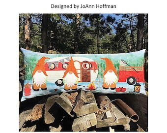 """Quilt Pattern - Gnome Is Where You Park It - By JoAnn Hoffman - Bench Pillow and Table Topper Finished Size 16"""" by 38"""""""