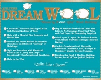 """Quilters Dream Wool Batting - Queen Size - 93"""" by 108"""" - New In Package"""