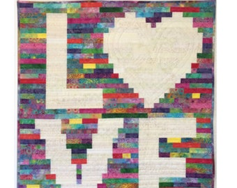"""Quilt Pattern - """"A Scrappy Kind of Love"""" - J. Michelle Watts - Jelly Roll Friendly - Two Sizes Included"""