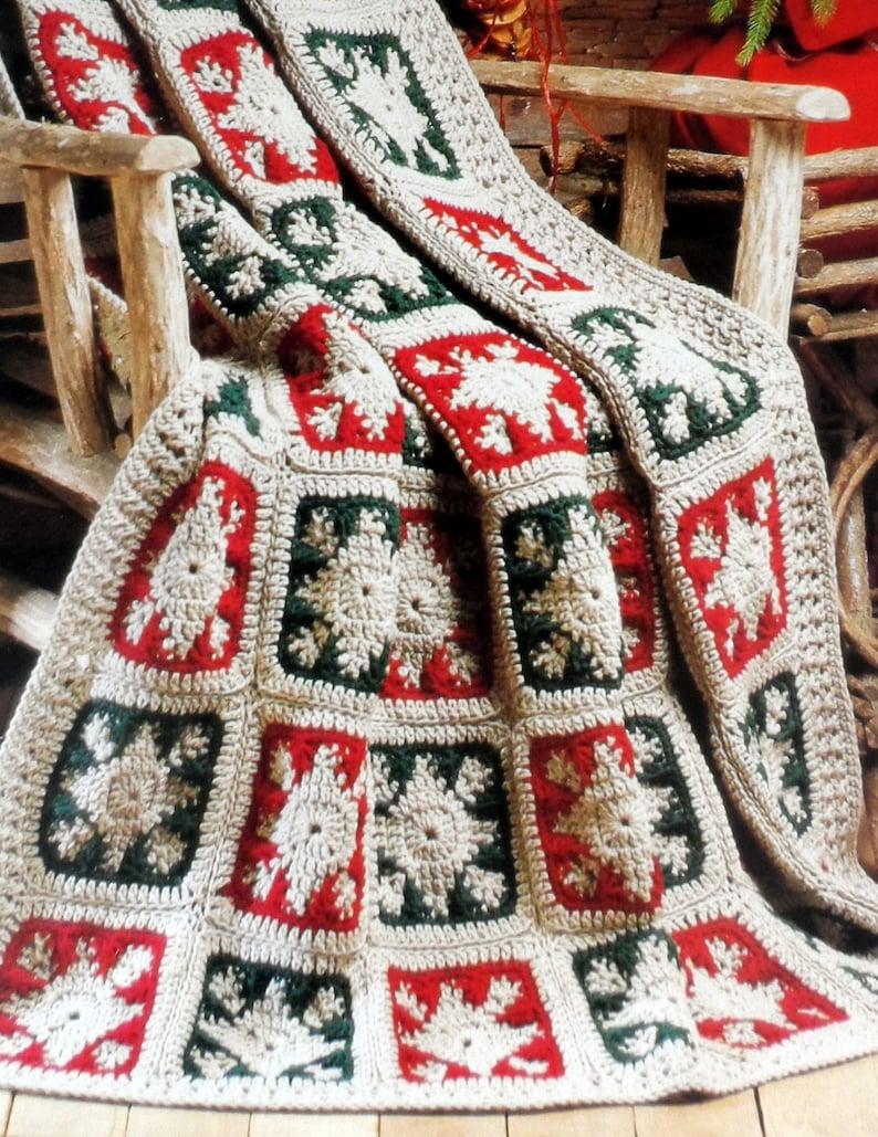 Christmas Crochet Blanket Pattern Granny Square Afghan Etsy