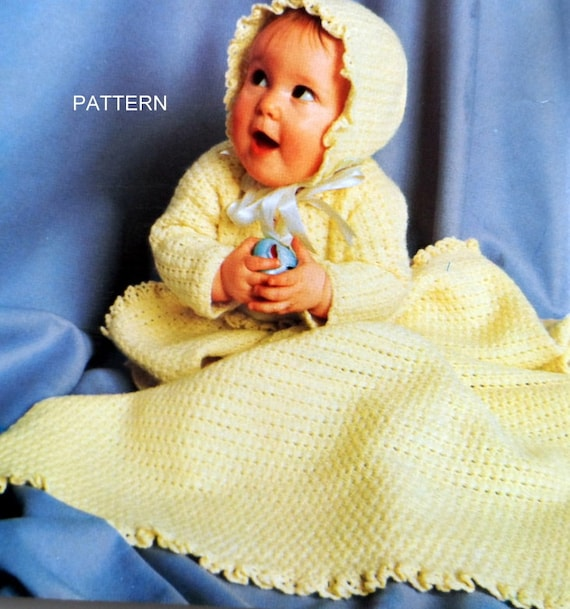 Crochet Baby Layette Pattern Baby Outfit And Blanket Patterns Etsy