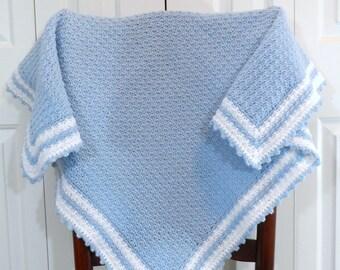 Crochet Baby Boy Blanket, Crib Bedding, Toddler Afghan, Nursery Afghan