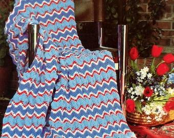 Ripple Crochet Afghan Pattern, Adult Chevron Blanket, Throw Blanket Pattern