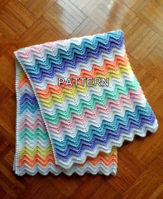 Baby Blanket Crochet Pattern Rainbow Ripple Afghan Crib Etsy