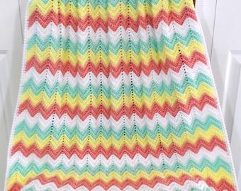 Crochet Baby Blanket, Girl Nursery Blanket, Crib Afghan Blanket
