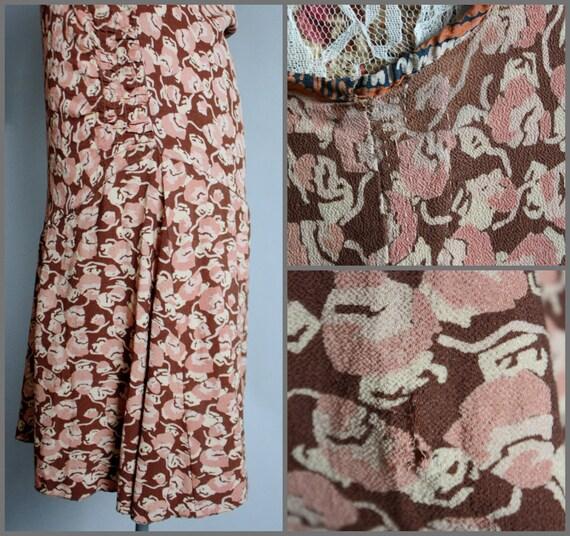 Vintage RARE 1920's 20s Crepe Silk Blush Pink / B… - image 5