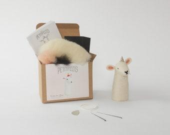 Lamb Needle Felting Kit. Felting Kit. Needle Felting Kit. Felt Craft Kit. DIY Needle Felting. Craft Gift. Finger Puppet Kit.
