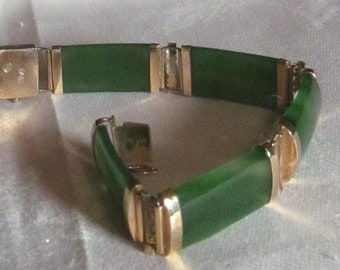 Vintage Green Jade Chinese Bracelet Gold over Silver Makers Mark