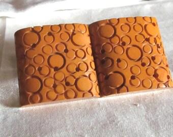 Vintage Art Deco Bakelite Belt Buckle Deeply Carved Butterscotch