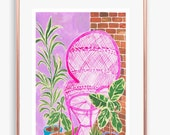 Pink Wicker chair, print of an original painting, illustration, boho, plants, a5 or a4 wall art