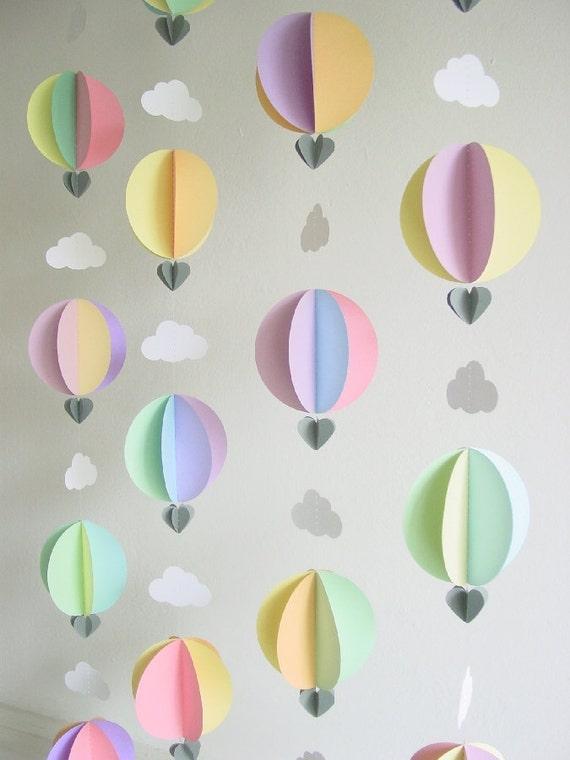 Hot Air Balloon Garland Baby Shower Decorations Travel Etsy