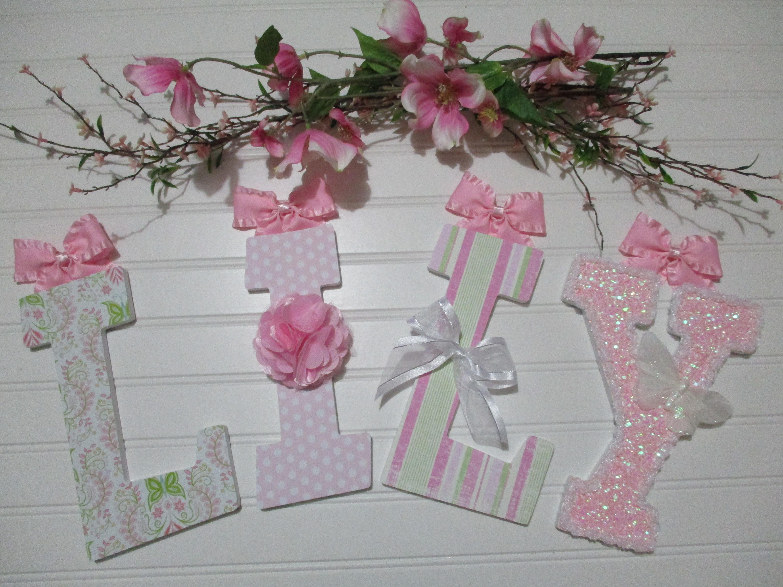 Lily 1200 Per Letter 8 12 Pink Sparkly White Etsy