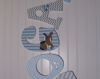 """LOGAN - 12.00 PER LETTER boy name, 8-1/2"""" to 9"""" wooden nursery letters, dog theme, blues, grays, buttons, gray chevron"""