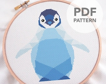 Cross stitch pattern, Cross stitch pattern PDF, Penguin baby cross stitch pattern, Geometric cross stitch, Easy cross stitch pdf, Nursery