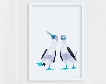 Blue-footed booby print, Blue-footed booby pair art, Blue-footed booby illustration, Bird pair, Bird couple, Animal pair, Love birds, Funny