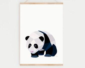 Panda bear poster, Geometric panda, Panda bear art, Panda print, Panda illustration, Animal art, Baby panda art, Nursery art, Panda nursery