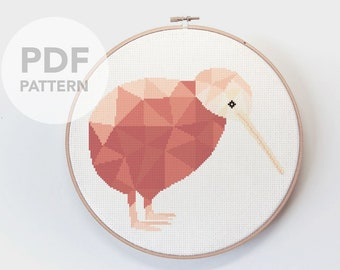 Kiwi cross stitch pattern, New Zealand cross stitch, Kiwi embroidery, Geometric kiwi, Cross stitch PDF, Kiwiana cross stitch, Kiwi bird art