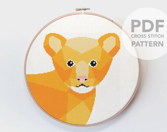 Cross stitch pattern, Lion cross stitch, Lion cub cross stitch, Minimal cross stitch, Beginners cross stitch, Poly cross stitch, Nursery art