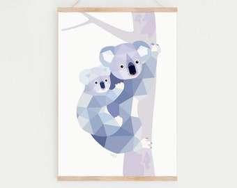 Koala print, Koala art, Koala illustration, Koala decor, Koala nursery art, Nursery print, Nursery animal art, Mother baby art, Baby bear