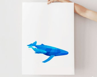 Nursery print, Whale illustration, Whale art, Baby whale, Cute animal art, Mother and baby art, Baby animal wall art, Baby shower gift