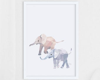 Elephant illustration, elephant print, Geometric elephant, Baby elephant art, Baby room art, Nursery art, Nursery prints, Safari nursery art