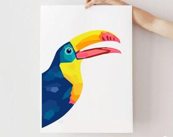 Toucan print, Toucan decor, Toucan illustration, Geometric Toucan poster, Jungle animal art, Amazon wildlife, Kids room decor, Toucan poster