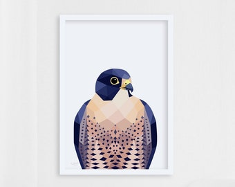 New Zealand Falcon bird, Falcon print, Bird of prey, Hunting birds, Falcon wall art, Geometric falcon, Bird art, Kiwi bird art, Kiwi artist
