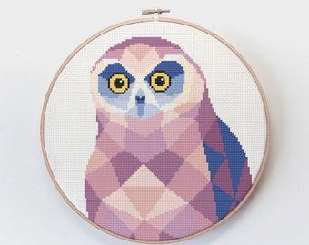 Cross stitch pattern, Owl cross stitch, New Zealand cross stitch pdf, Bird cross stitch, Geometric cross stitch, Owl art, Kiwi cross stitch