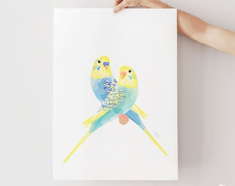 Budgie print, Budgie illustration, Budgie wall art, Australian birds, Bird art, Budgie art, Pastel decor, Australian birds, Pet animal art