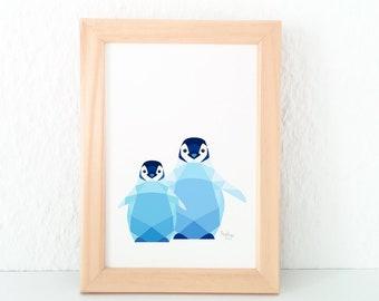 Penguin nursery art, Penguin baby print,  Baby animal prints, Kids room art, New born art, Sibling art, Nursery  decor, Penguin illustration