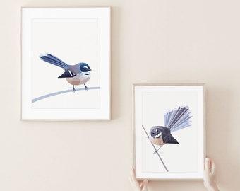 Fantail art, New Zealand fantail print, New Zealand native birds, New Zealand artist, Kiwiana, Kiwi gift, Made in NZ,  Fantail illustration