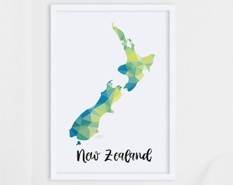 Map of New Zealand, Aotearoa map, New Zealand map poster, Geometric map, New Zealand map art, A2 map, Kiwiana map, New Zealand map print