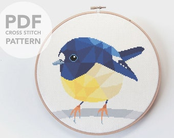 Tomtit cross stitch pattern, New Zealand cross stitch pdf, Instant cross stitch pattern, Bird cross stitch, Geometric cross stitch, Cute art