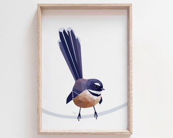 Fantail art, Piwakawaka art, Fantail print, New Zealand fantail, New Zealand art, Kiwi birds, Kiwi art, New Zealand wildlife, Kiwiana art