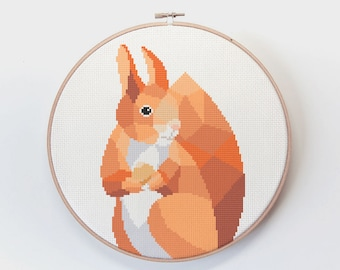 Squirrel cross stitch pattern, Cross stitch pattern, Squirrel wall art, Animal cross stitch, Cute embroidery art, Embroidery pattern PDF