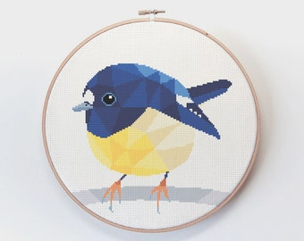 Cross stitch pattern, New Zealand cross stitch, Tomtit art, Counted cross stitch, Cute cross stitch, Modern cross stitch, Kiwi cross stitch