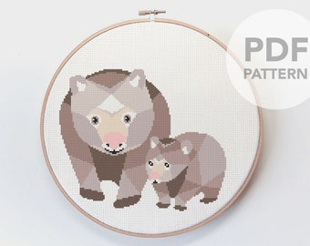 Cross stitch pattern, Wombat cross stitch, Australia cross stitch, Cross stitch PDF, Australia wildlife, Cross stitch easy, Cute embroidery