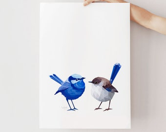 Wren print, Superb fairy-wren pair art, Blue wren print, Wren birds art, Australian birds, Lovebirds, Bird pair, Australian wildlife art