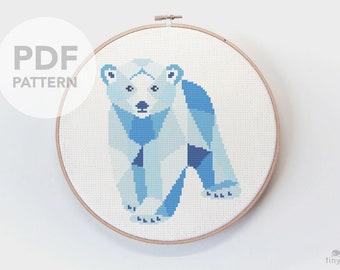 Polar bear cross stitch, Geometric polar bear, PDF cross stitch, Bear cross stitch, Baby cross stitch, Polar bear embroidery, Nursery art