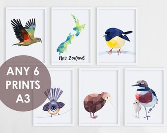 Set of 6 A3 prints, Print set, New Zealand prints, Six prints, Pick your own, Bulk art, Kiwi art, A3 wall art, Art set, Print discount set