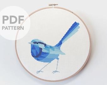 Cross stitch pattern, Wren cross stitch, Australia cross stitch, Cross stitch PDF, Blue wren art, Fairy wren cross stitch, Wren embroidery