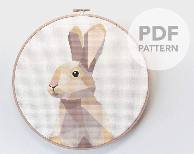 Featured listing image: Rabbit cross stitch pattern, Cross stitch kit, Cross stitch bunny, Cross stitch pattern modern, Cross stitch pattern PDF, Rabbit embroidery