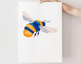 Bumblebee art, Bumblebee print, Bee illustration, Geometric bee, Scandinavian style, Nature print, Insect art, Nature art, Garden print