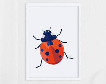 Ladybird print, Geometric art, Insect art, Ladybird illustration, Ladybird print, Ladybird art, Garden art, Garden wildlife, Nature prints