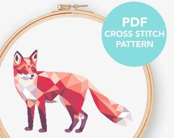 Geometric fox cross stitch pattern, fox pdf cross stitch, Simple cross stitch, Polygon fox, Modern cross stitch, Animal cross stitch, Fox