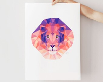 Lion print, Lion illustration, Lion art, Safari nursery art, Nursery lion art, African animal art, Geometric lion, Animal portrait, Animals