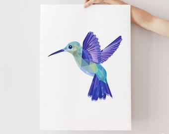 Hummingbird print, Flying bird, Hummingbird illustration, Nature gift, Geometric logo, Amazon birds, Bird art, Flying bird, Bird painting,